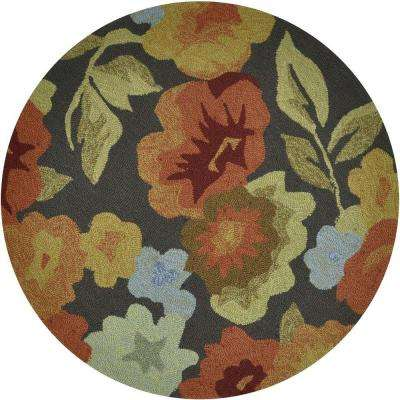 Summerton Lifestyle Collection Dark Brown/Floral 3 ft. Round Area Rug