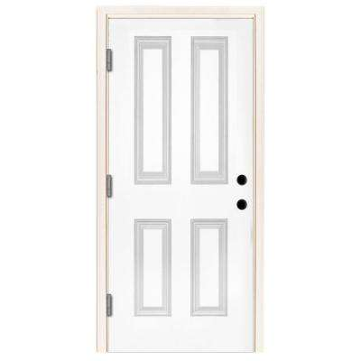32 in. x 80 in. Premium 4-Panel Primed White Steel Prehung Front Door with 32 in. Right-Hand Outswing and 6 in. Wall