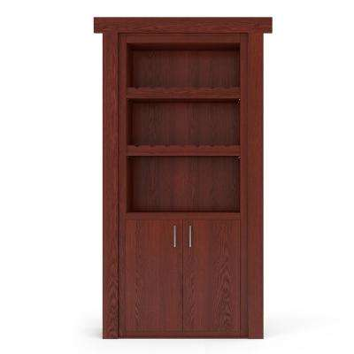 32 in. x 80 in. Flush Mount Assembled Oak Cherry Stained Right-Hand Outswing Wine Rack Door