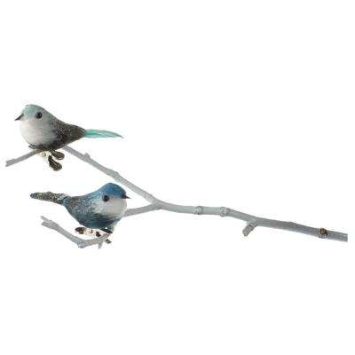3 in. W Small Bluebird Clip on Christmas Ornaments (Set of 2)