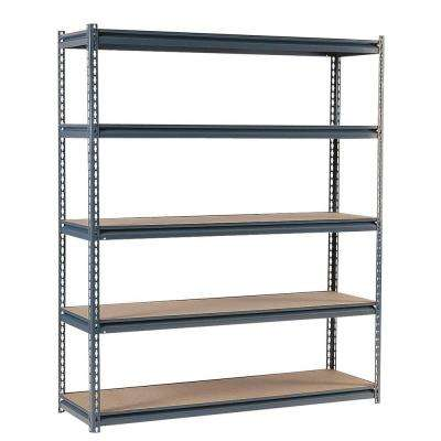 72 in. H x 60 in. W x 24 in. D Steel Commercial Shelving Unit in Gray