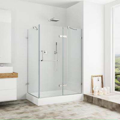 Monteray 40.25 in. x 79.25 in. Frameless Pivot Shower Door in Chrome with Clear Glass with Right Base