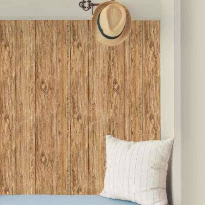 Rustic wallpaper -28.18 sq. ft. Brown Mushroom Wood Peel and Stick Wallpaper