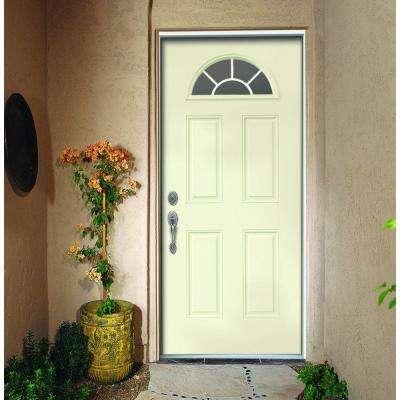 32 in. x 80 in. Fan Lite Vanilla Painted Steel Prehung Right-Hand Inswing Front Door w/Brickmould