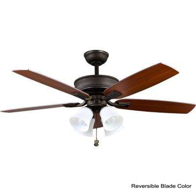 Devron 52 in. LED Indoor Oil-Rubbed Bronze Smart Ceiling Fan with Light Kit and WINK Remote Control