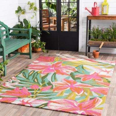 Chasmanthe Bright Pink 5 ft. x 8 ft. Indoor/Outdoor Area Rug