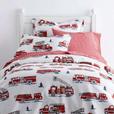 Fire Truck 200-Thread Count Cotton Percale Duvet Cover