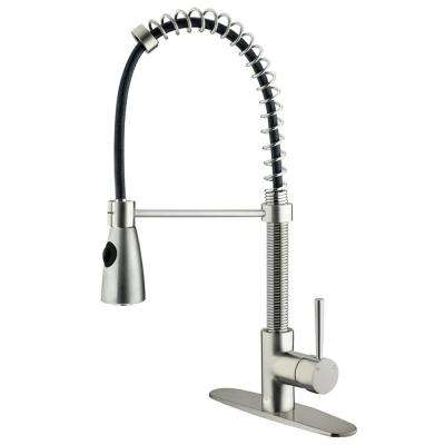 Brant Single-Handle Pull-Out Sprayer Kitchen Faucet with Deck Plate in Stainless Steel