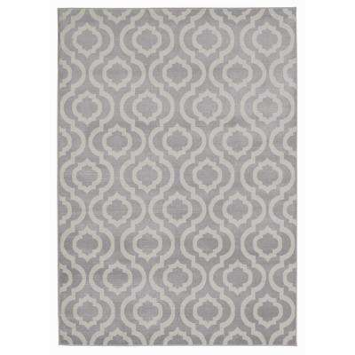 Jasmin Collection Grey and Beige 7 ft. 10 in. x 9 ft. 10 in. Trellis Area Rug