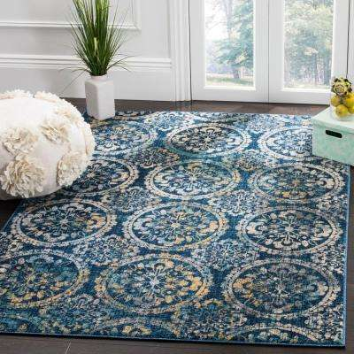 Evoke Navy/Cream 6 ft. 7 in. x 6 ft. 7 in. Square Area Rug