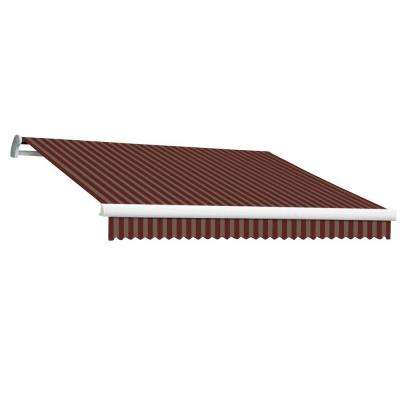 14 ft. MAUI EX Model Left Motor Retractable Awning (120 in. Projection) in Burgundy and Tan Stripe
