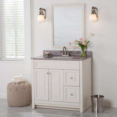 Brinkhill 37 in. W x 22 in. D Bathroom Vanity in Cream with Stone Effect Vanity Top in Mineral Gray with White Sink