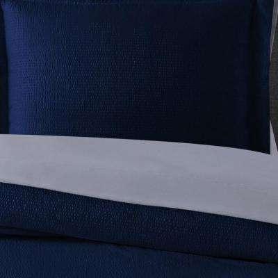 Truly Calm Antimicrobial 7 Piece Navy Seersucker Microfiber Full Comforter Set Bib3730ngfu 00 The Home Depot