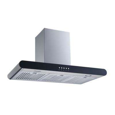 36 in. Convertible Wall Mount Range Hood in Stainless with Steel Baffle Filters and Push Button