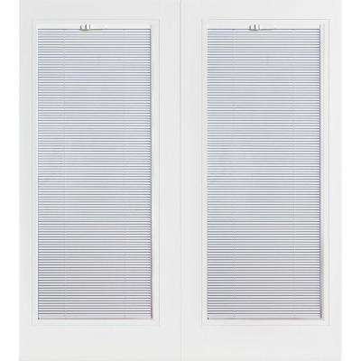 Prehung Mini Blind Primed Smooth Fiberglass Patio Door with Brickmold