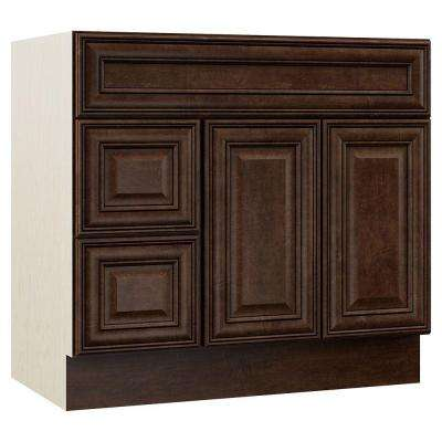Oxford 36 in. W x 21.5 in. D x 33.5 in. H Vanity Cabinet Only with Drawers on Left in Toasted Sienna
