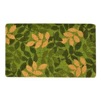 Outdoor Green Leaf 1 ft. 6 in. x 2 ft. 6 in. Coir Door Mat