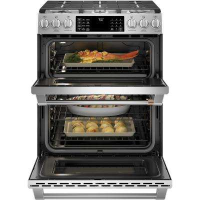 30 in. 7.0 cu. ft. Smart Slide-In Double-Oven Gas Range with Self-Cleaning and Lower Convection Oven in Stainless Steel