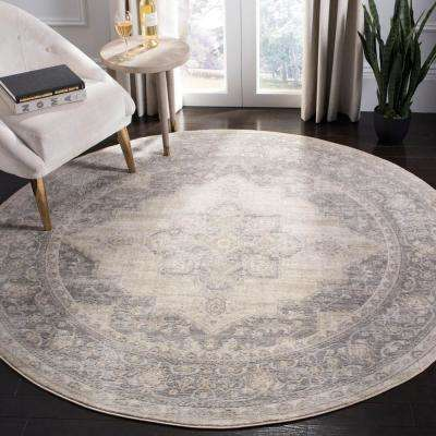 Brentwood Cream/Gray 7 ft. x 7 ft. Round Area Rug
