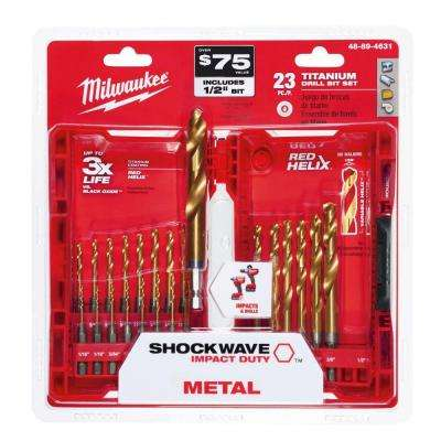 Titanium Shockwave Drill Bit Kit (23-Piece)