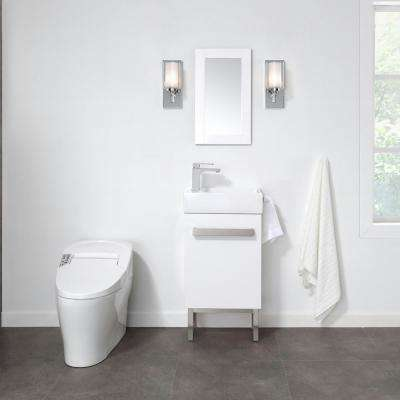 Woodmoore 19 in. W x 10 in. D Vanity in Gloss White with Integrated Vanity Top in White with White Sink and Mirror