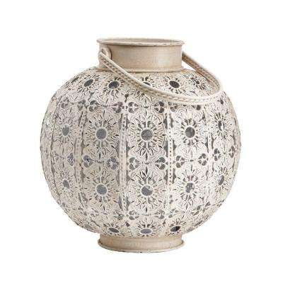 10.25 in. H Aged White Antique Cutout Lantern