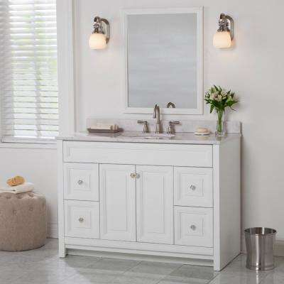 Brinkhill 49 in. W x 22 in. D Bathroom Vanity in White with Stone Effect Vanity Top in Pulsar with White Sink