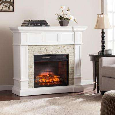 W Corner Convertible Infrared Electric Fireplace in White - Electric Fireplaces - Fireplaces - Fireplace & Hearth - Heating