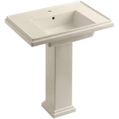 Tresham Ceramic Pedestal Combo Bathroom Sink with Single-Hole Faucet Drilling in Almond with Overflow Drain