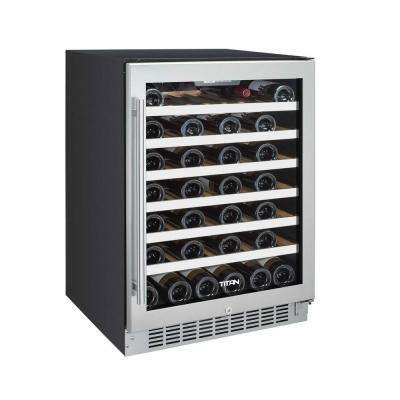 50-Bottle Seamless Stainless Steel Single Zone Built-In Wine Cooler