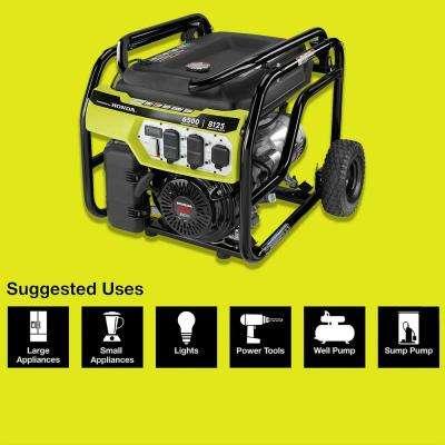 6,500-Watt Gasoline Powered Portable Generator with Honda GX390 Engine