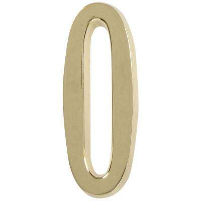 4 in. Distinctions Brass Plated Number 0