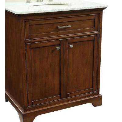 Easton 30 in. Single Bath Vanity w/ 1 Shelf 2 Doors; Marble Top; Porcelain Sink; Teak
