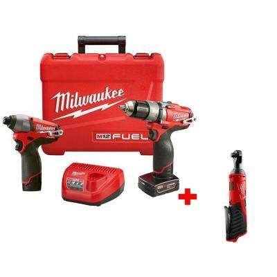 M12 FUEL 12-Volt Lithium-Ion 1/2 in. Cordless Hammer Drill/Impact Combo Kit with FREE M12 3/8 in. Ratchet (Tool-Only)
