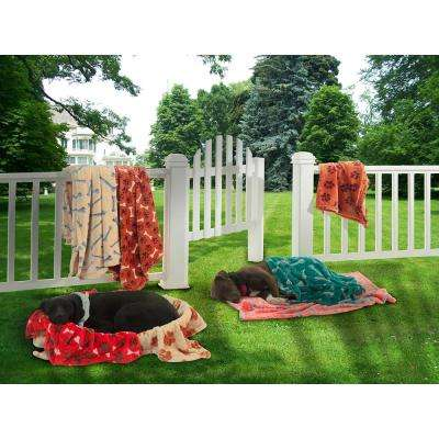 Paws and Bones Design Polyester Plush Blanket in Red
