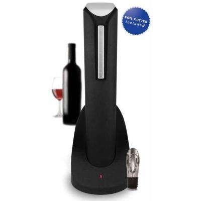 Pro Electric Wine Bottle Opener with Wine Pourer, Stopper, Foil Cutter and Elegant Recharging Stand, in Black