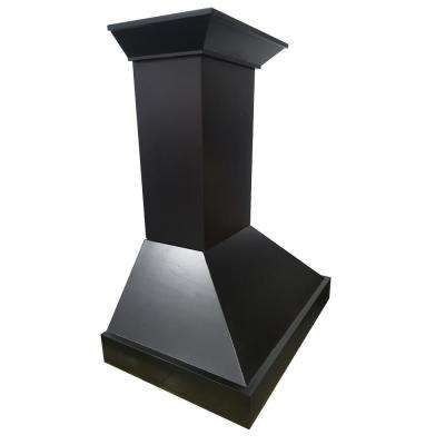 30 in. Wooden Wall Mount Range Hood in Black - Includes 760 CFM Motor