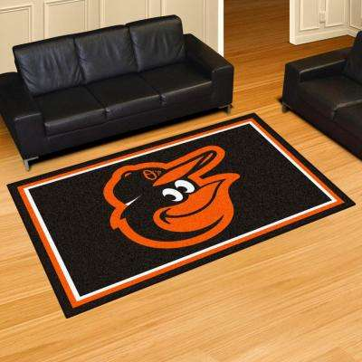 MLB Baltimore Orioles Black 5 ft. x 8 ft. Indoor Area Rug