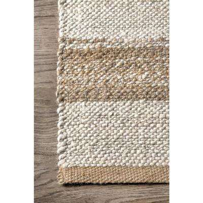 Janelle Striped Coastal Natural 8 ft. x 10 ft. Area Rug
