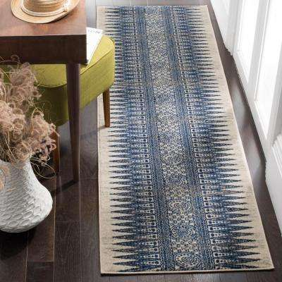 Evoke Ivory/Blue 2 ft. x 11 ft. Runner Rug