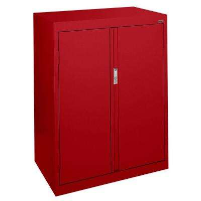 System Series 30 in. W x 42 in. H x 18 in. D Counter Height Storage Cabinet with Fixed Shelves in Red