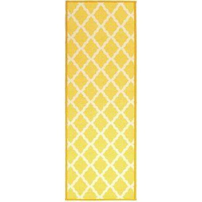 Pink Collection Contemporary Moroccan Trellis Design Yellow 2 ft. 2 in. x 6 ft. Runner