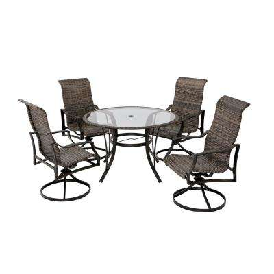 Statesville 5-Piece Steel Woven Swivel Outdoor Patio Dining Set