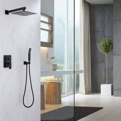 1-spray 10 in. High PressureDual Shower Head and Handheld Shower Head in Matte Black