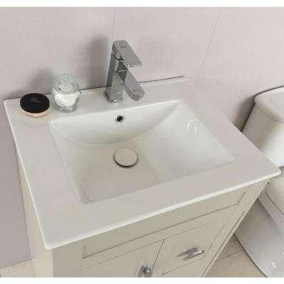 Cordelia 24 in. W x 18 in. D x 36 in. H Single Vanity in Light Gray with Ceramic Vanity Top in White with White Basin
