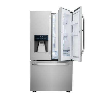 23.5 cu. ft. 3-Door French Door Smart Refrigerator with Wi-Fi Enabled in Stainless Steel, Counter Depth