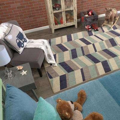 Corey Stripe Aqua 5 ft. x 8 ft. Indoor/Outdoor Area Rug