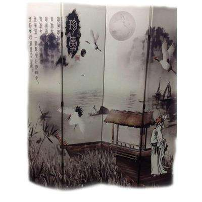 71 in. x 64 in. 4-Panel Poet's Dream Chinese Painting Printed on Canvas Room Divider