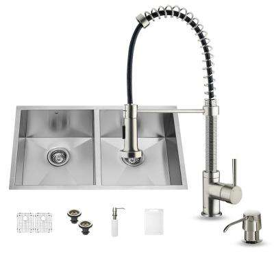 All-in-One Undermount Stainless Steel 32 in. Double Basin Kitchen Sink in Stainless Steel