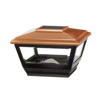 4 in. x 4 in. Vinyl Solar Light Copper Top Post Cap with Black Base